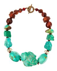Stephen Dweck - Blue Coiled Long Bronze Mixedstone Necklace - Lyst