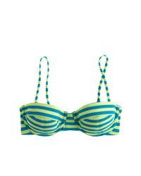 J.Crew - Green Striped Underwire Bikini Top - Lyst