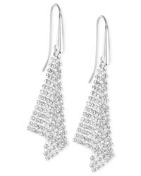 Swarovski | Metallic Silver-tone Crystal Mesh Drop Earrings | Lyst