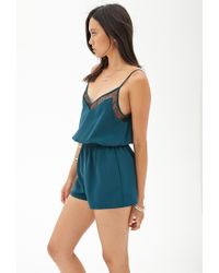 Forever 21 - Green Lace-trimmed Cami Romper - Lyst