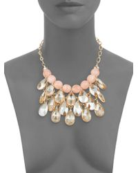 Cara - Pink Beaded Briolette Bib Necklace - Lyst