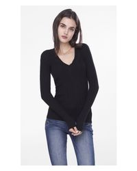 Express | Black Ribbed Fitted V-neck Sweater | Lyst