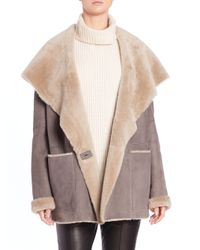 VINCE | Gray Hooded Shearling Coat | Lyst