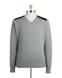 Guess | Gray Faux Leather Paneled Sweater for Men | Lyst