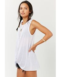 Project Social T - White Side-tuck Muscle Tee - Lyst