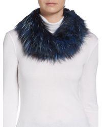 Adrienne Landau - Blue Knit Fox Fur Scarf - Lyst