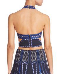 BCBGMAXAZRIA - Blue Katrin Embroidered Cutout Crop Top - Lyst