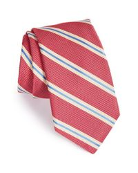 Ike Behar - Red 'pick Stitch' Stripe Silk Tie for Men - Lyst