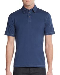 James Campbell | Blue Striped Cotton Polo for Men | Lyst