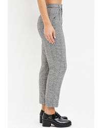 Forever 21 - Black Wool-blend Plaid Trousers - Lyst