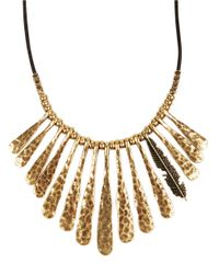 Lucky Brand | Metallic Goldtone And Leather Fan Feather Necklace | Lyst