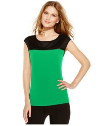 Calvin Klein | Green Mesh-yoke Colorblock Top | Lyst