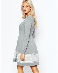 Oasis - Gray Fairisle Print Knitted Skater Dress - Lyst