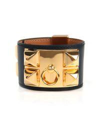 Hermès | Black Calfskin Leather Collier De Chien Bracelet | Lyst