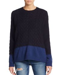 Vince | Blue Cable Knit Colorblock Yak & Wool Sweater | Lyst