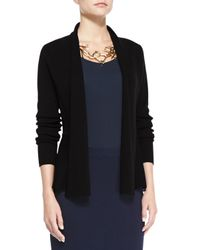 Eileen Fisher | Black Peplum Cotton and Silk-Blend Jacket | Lyst