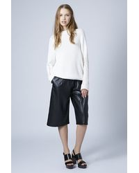 TOPSHOP - Black Leather-Look Culottes - Lyst