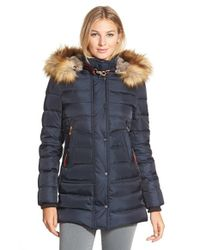 Vince Camuto | Blue Down & Feather Fill Parka With Faux Fur Trim | Lyst