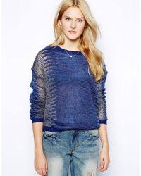 Aryn K.   Blue Lurex Knit Jumper   Lyst