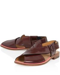 Paul Smith | Brown Robert Cross Leather Sandals | Lyst