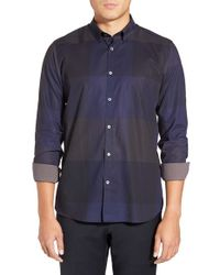 Ted Baker | Blue 'bigdeal' Modern Slim Fit Check Sport Shirt for Men | Lyst