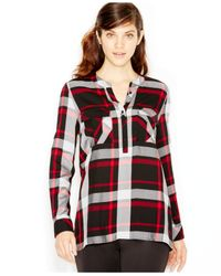 Kensie | Red Long-sleeve Plaid Shirt | Lyst