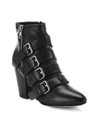Rebecca Minkoff | Black Audrey Buckled Leather Booties | Lyst