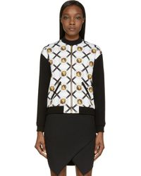 Versus - Yellow Black And Gold Lion Coin Print Bomber - Lyst