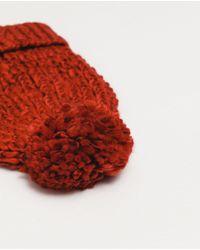 Zara | Red Pompom Knit Hat | Lyst