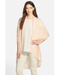 Eileen Fisher - Natural Tencel & Merino Open Front Oval Cardigan - Lyst