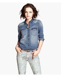 H&M - Blue Denim Shirt - Lyst