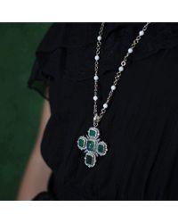 Sylva & Cie - Green Emerald Cross Pendant - Lyst