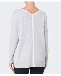Duffy - Gray Stripe Back Cashmere Jumper - Lyst