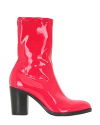 Strategia - Red 80mm Stretch Naplak Effect Ankle Boots - Lyst
