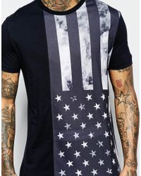 ASOS | Black T-shirt With Smokey Flag Print In Relaxed Skater Fit for Men | Lyst