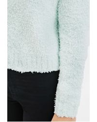 Forever 21 | Green Fuzzy Knit Sweater | Lyst