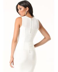 Bebe | White Mesh Yoke Bandage Top | Lyst