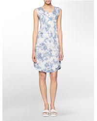 Calvin Klein | Blue Jeans Tie Dye Sleeveless Henley Dress | Lyst