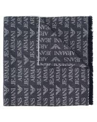 Armani Jeans - Blue Logo Scarf - Lyst