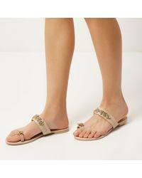 River Island | Multicolor Nude Gem Embellished Sandals | Lyst
