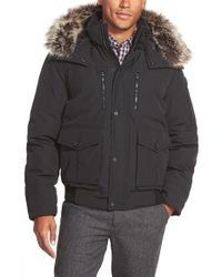 Michael Kors - Blue Hooded Jacket With Faux Fur Trim for Men - Lyst