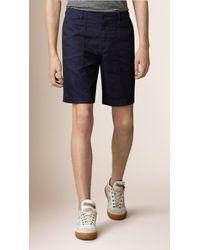 Burberry - Blue Raw Denim Utility Shorts for Men - Lyst