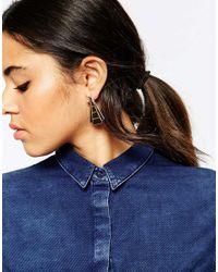 ASOS | Metallic Flat Pyramid Swing Earrings | Lyst