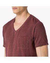 Tommy Hilfiger | Red Cotton Jersey V-neck T-shirt for Men | Lyst