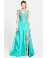 Mac Duggal - Blue Embellished Gown - Lyst