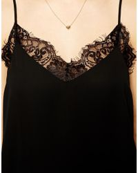 ASOS | Black Woven Cami With Lace Neckline | Lyst