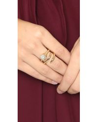 Alexis Bittar - Metallic Encrusted Sphere Coiled Cocktail Ring - Gold/clear - Lyst