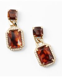 Ann Taylor - Brown Tortoiseshell Pave Drop Earrings - Lyst