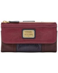 Fossil | Red Emory Leather Clutch Wallet | Lyst
