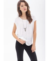 Forever 21 - White Contemporary Boxy Heathered Linen Top - Lyst